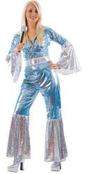 Waterloo Blue 1970s Ladies Fancy Dress Dancing Queen 70s Funk Adults Costume