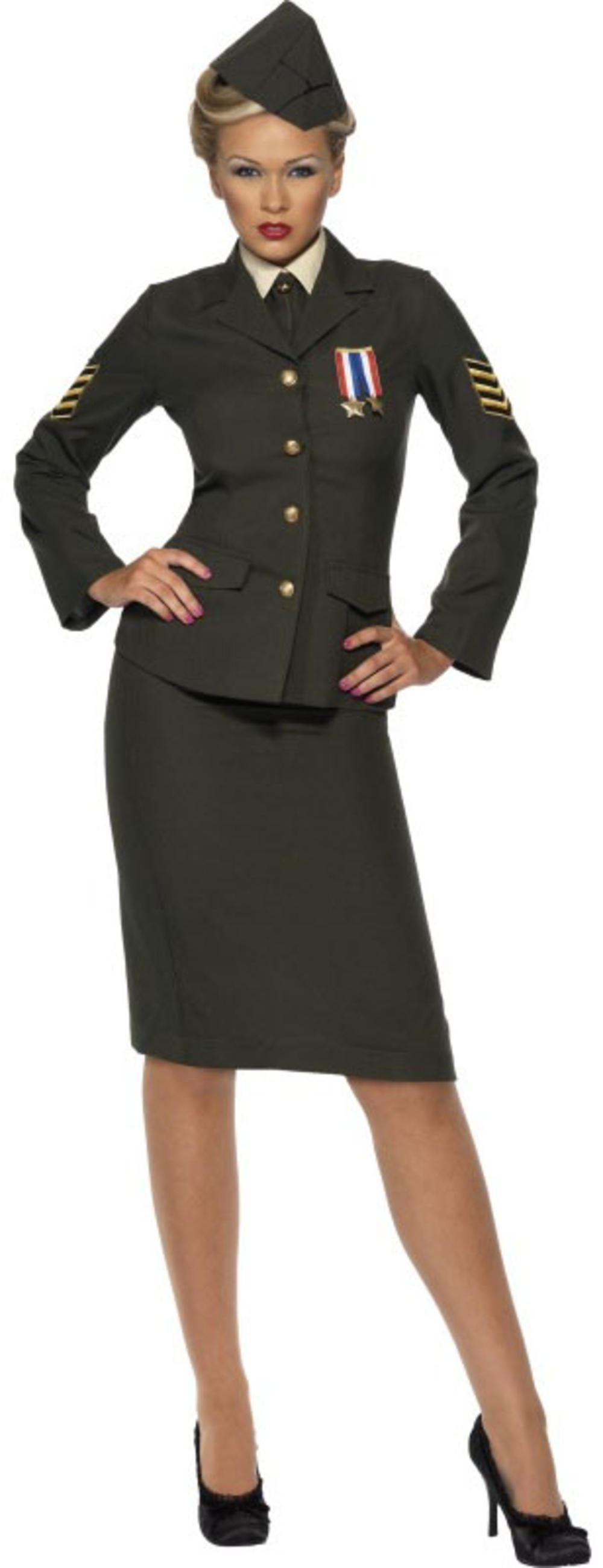 British History 1940s Army Officer Ladies Military Uniform Fancy Dress Costume
