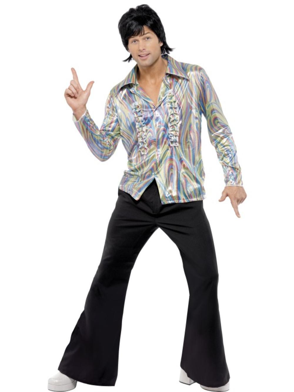 70's Retro Men's Fancy Dress 70s Costume Adult 1970s Funky Shirt + Black Flares