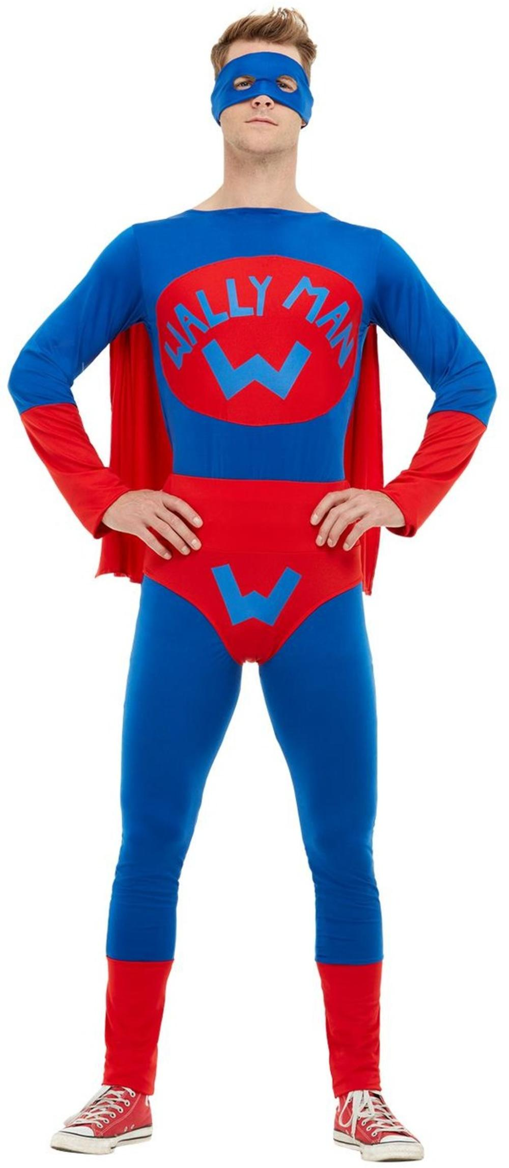 Wallyman Mens Fancy Dress Funny Superhero Adults Stag Night Party Costume Outfit