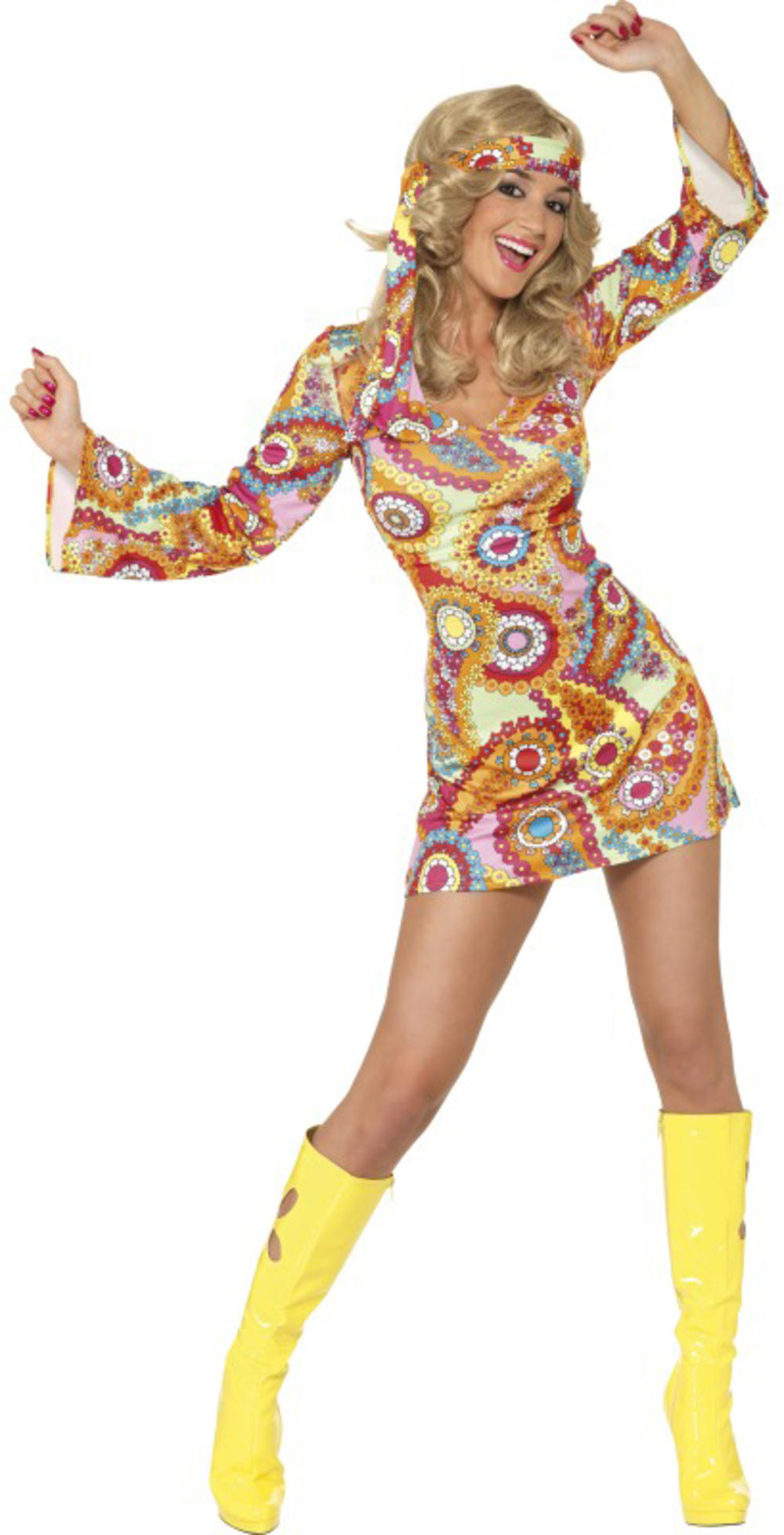 Hippy Chick 1960s Fancy Dress Sixties Hippie Womens Adult 60s Costume UK 8-18