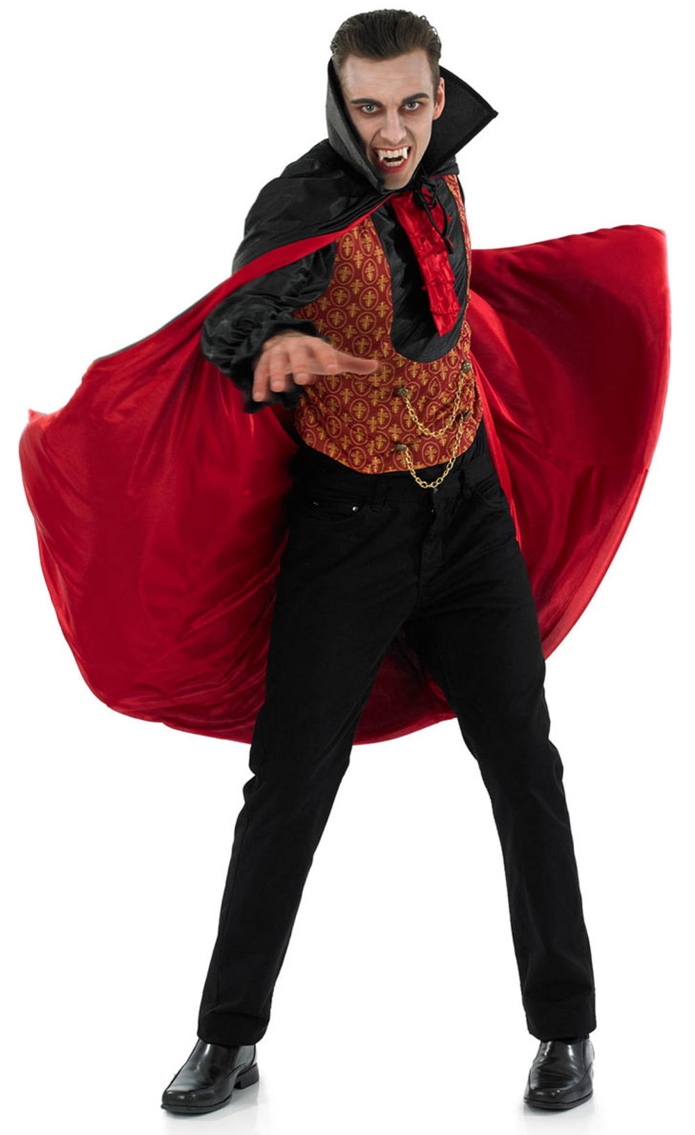 Count Dracula Mens Fancy Dress Halloween Vampire Adults Costume Outfit with Cape