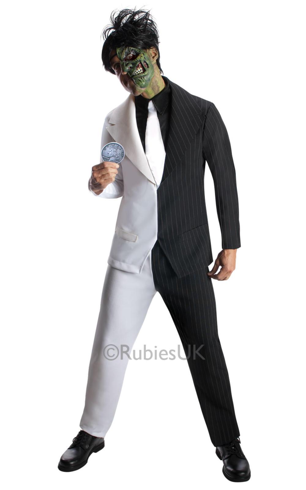 Two Face Mens Fancy Dress Batman Comic Joker Villain Adults Halloween Costume