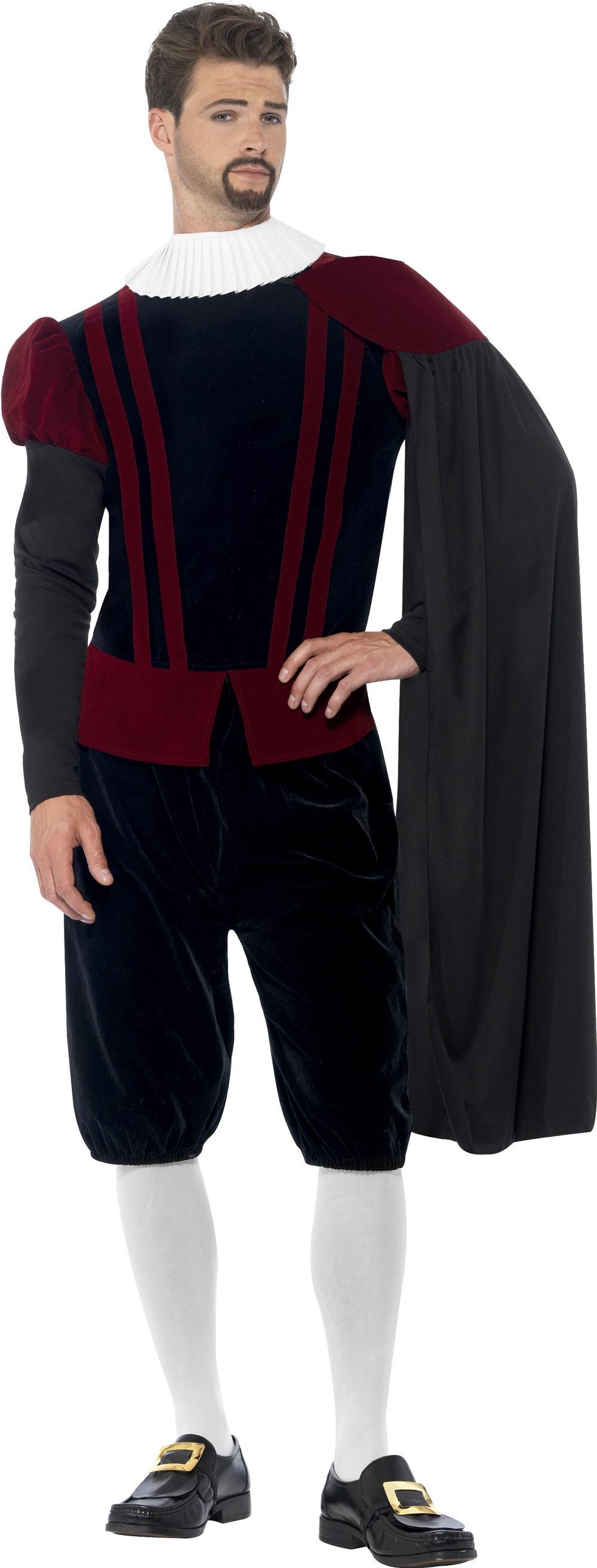 Tudor Lord Mens Fancy Dress Medieval Prince Renaissance Blackadder Adult Costume