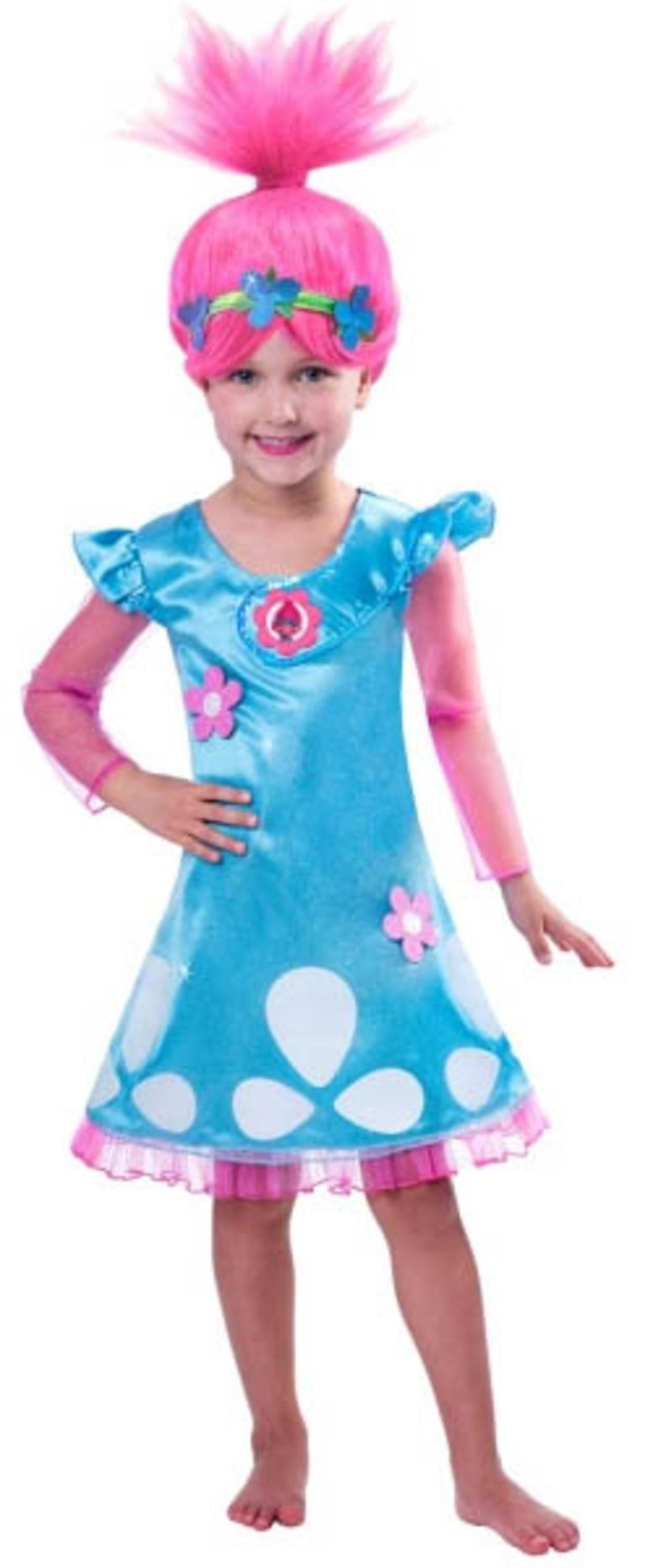 Trolls Princess Poppy Girls Fancy Dress TV Film Cartoon Character Kids Costume