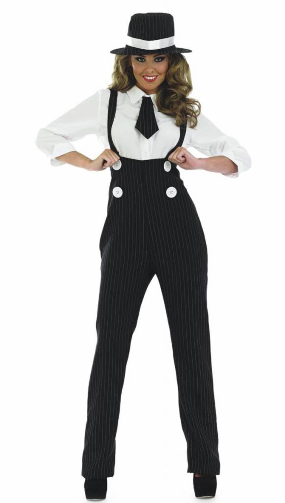 1920s Black Gangster + Hat Ladies Fancy Dress 20s Mafia Womens Costume Outfit