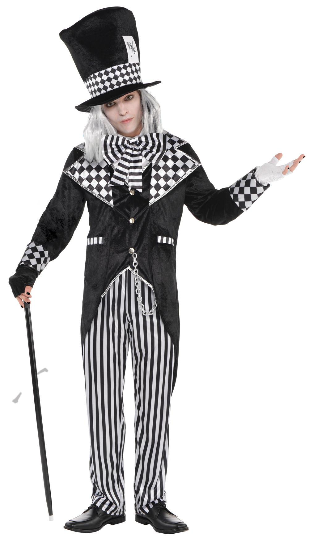 Dark Mad Hatter Mens Fancy Dress Halloween Fairytale Evil Horror Adults Costume