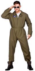 Top Shot Pilot Mens Fancy Dress Military Air Force Adults Uniform Costume Outfit