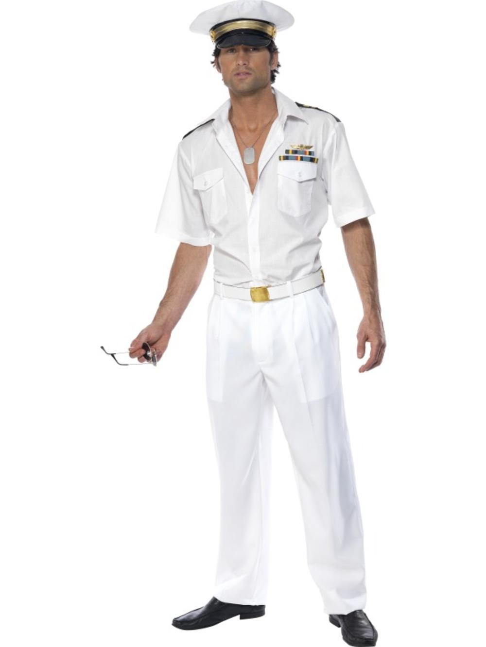 Top Gun Fancy Dress White Captain 1980s Uniform Mens 80s Costume Outfit + Hat