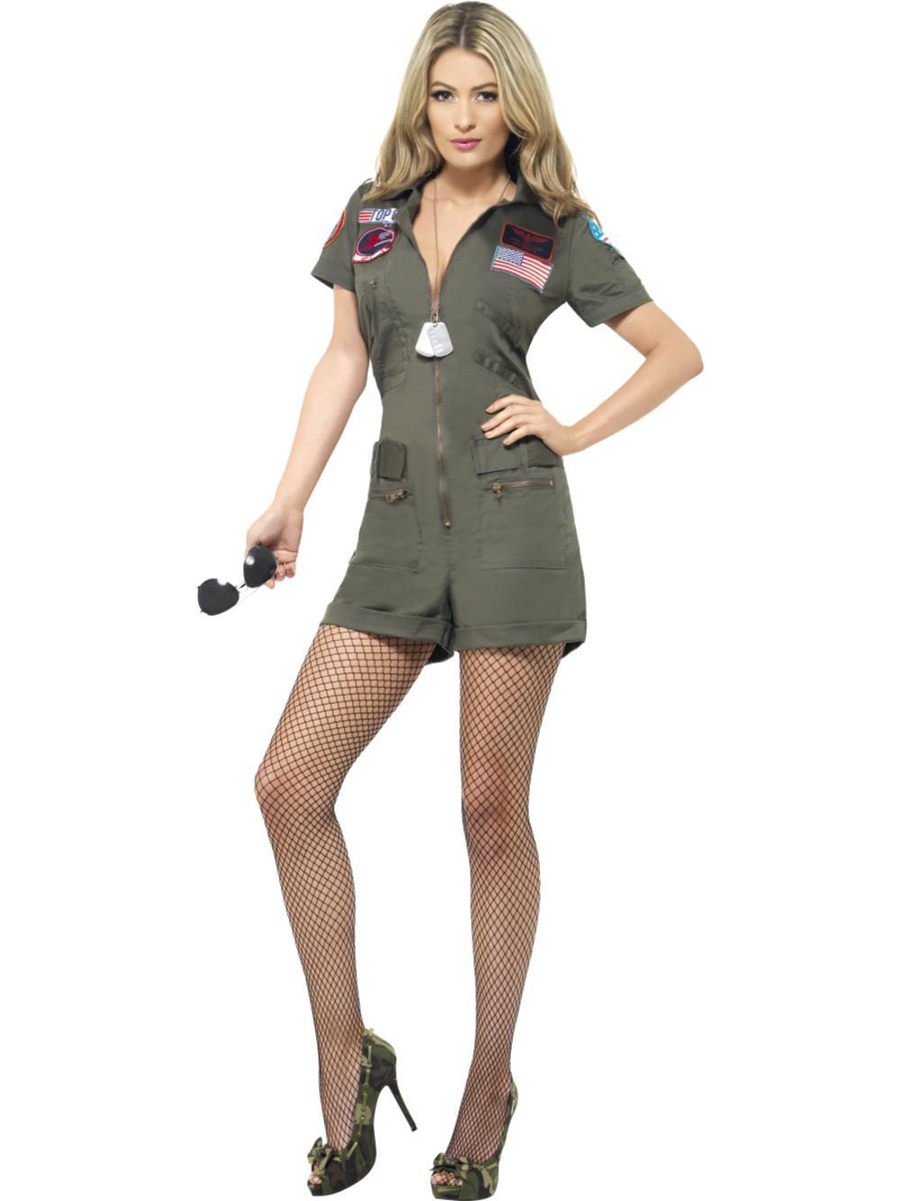 Top Gun Pilot Ladies Jumpsuit Fancy Dress 80s Military Uniform Adults Costume