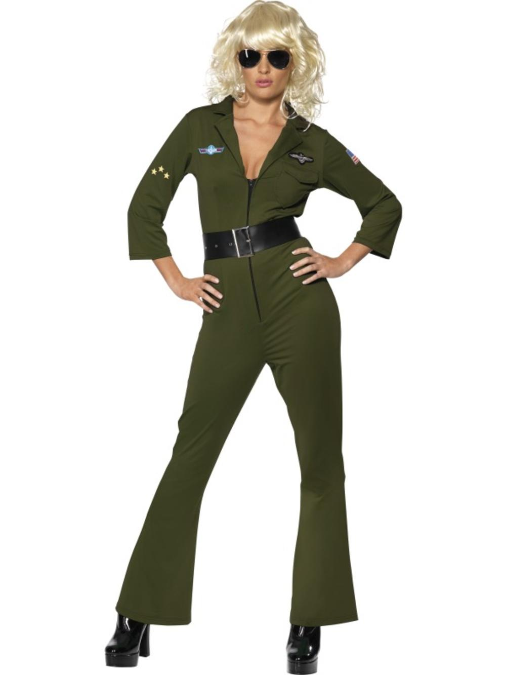Top Gun Pilot Ladies Fancy Dress 1980s Army Air Force Adults Costume Outfit
