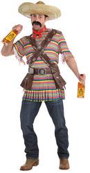 Tequilla Bandit Mens Fancy Dress Wild West Mexican Serape Sombrero Adult Costume