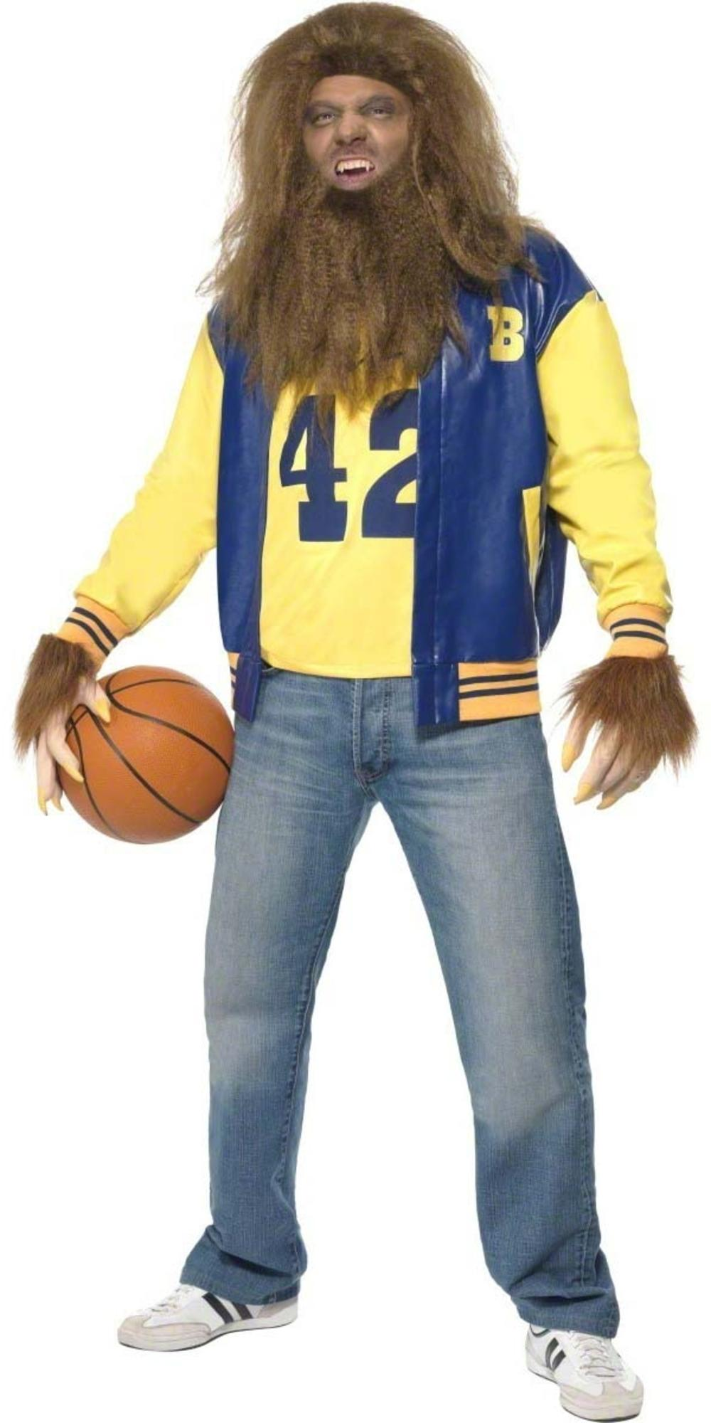 Teen Wolf Mens Halloween Fancy Dress Adult 1980s Retro 80s Costume Outfit + Wig