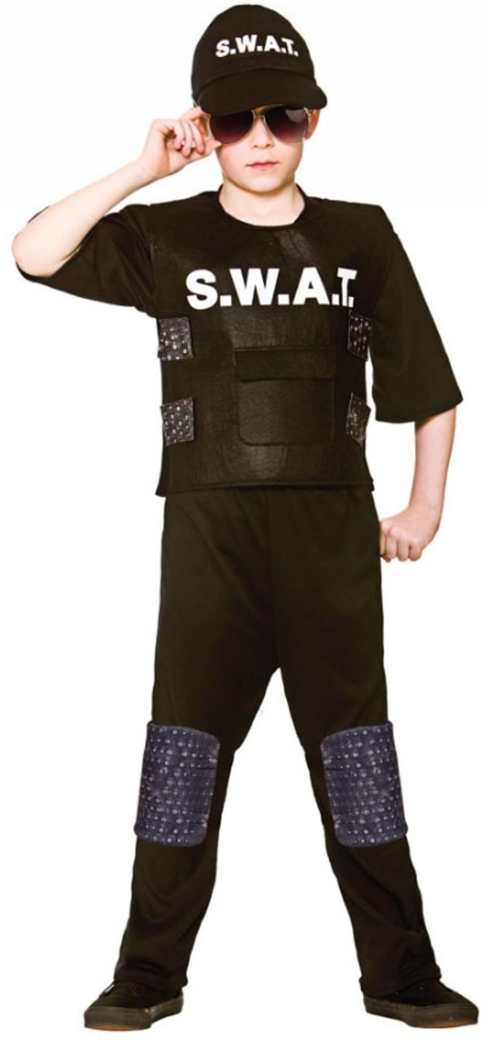 SWAT Team Commander Boys Fancy Dress USA Police Officer Cop Childrens Costume