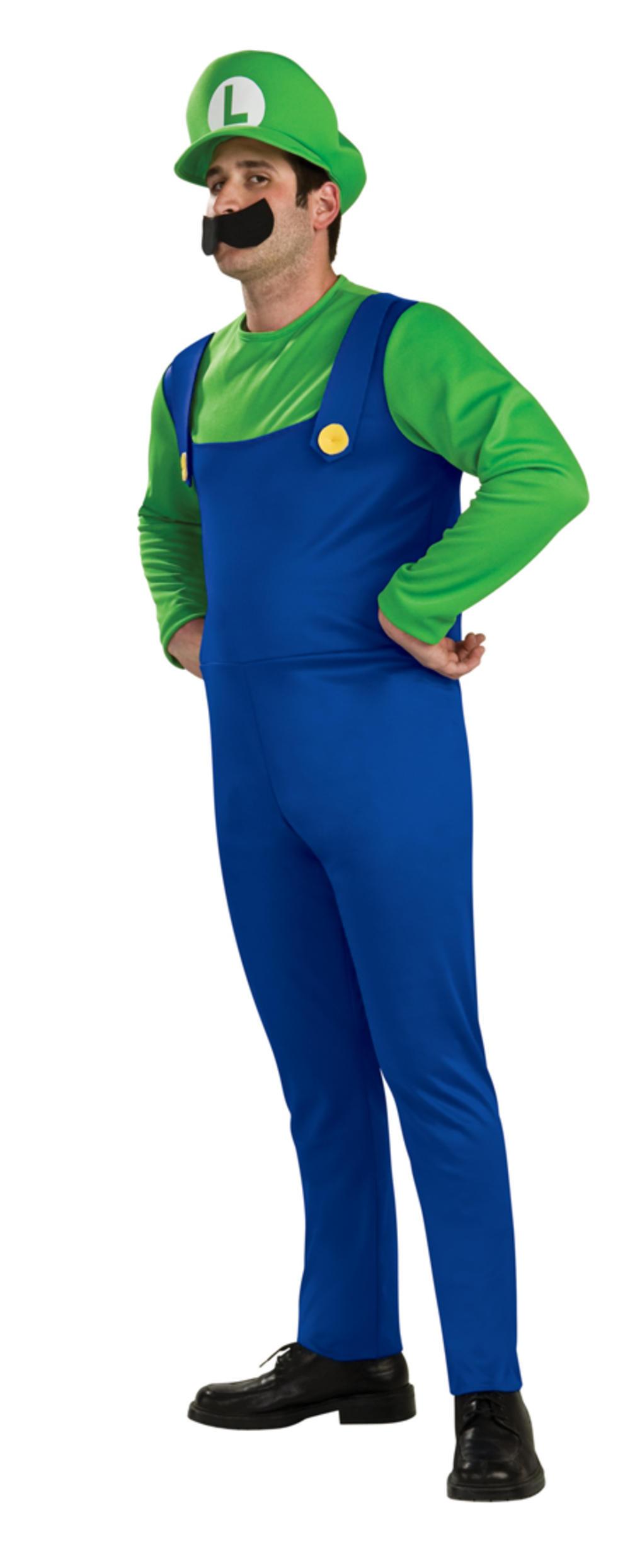 Luigi Super Mario Mens Fancy Dress Nintendo Video Game 1980s Adult Costume + Hat