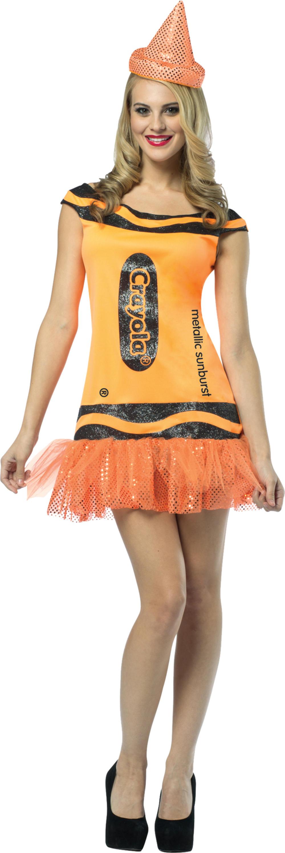 Sunburst Orange Crayola Glitter Dress Women's Costume