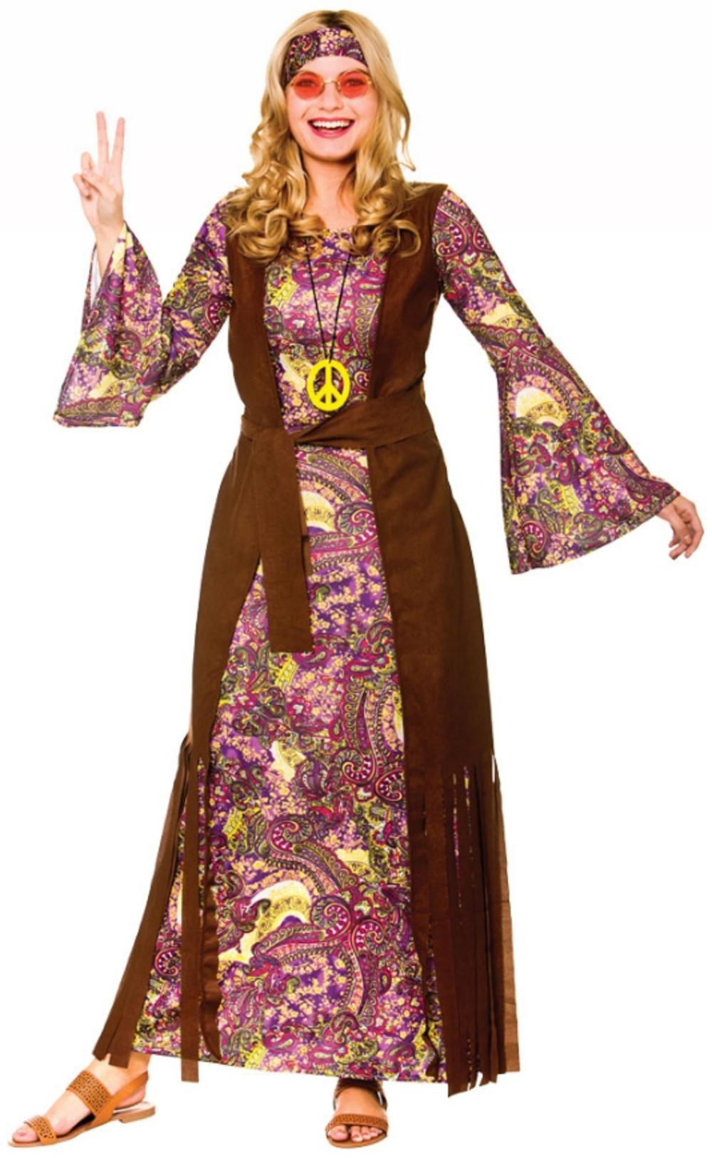Summer Love Hippie Ladies Fancy Dress Long Hippy 60s 70s Adults Womens Costume
