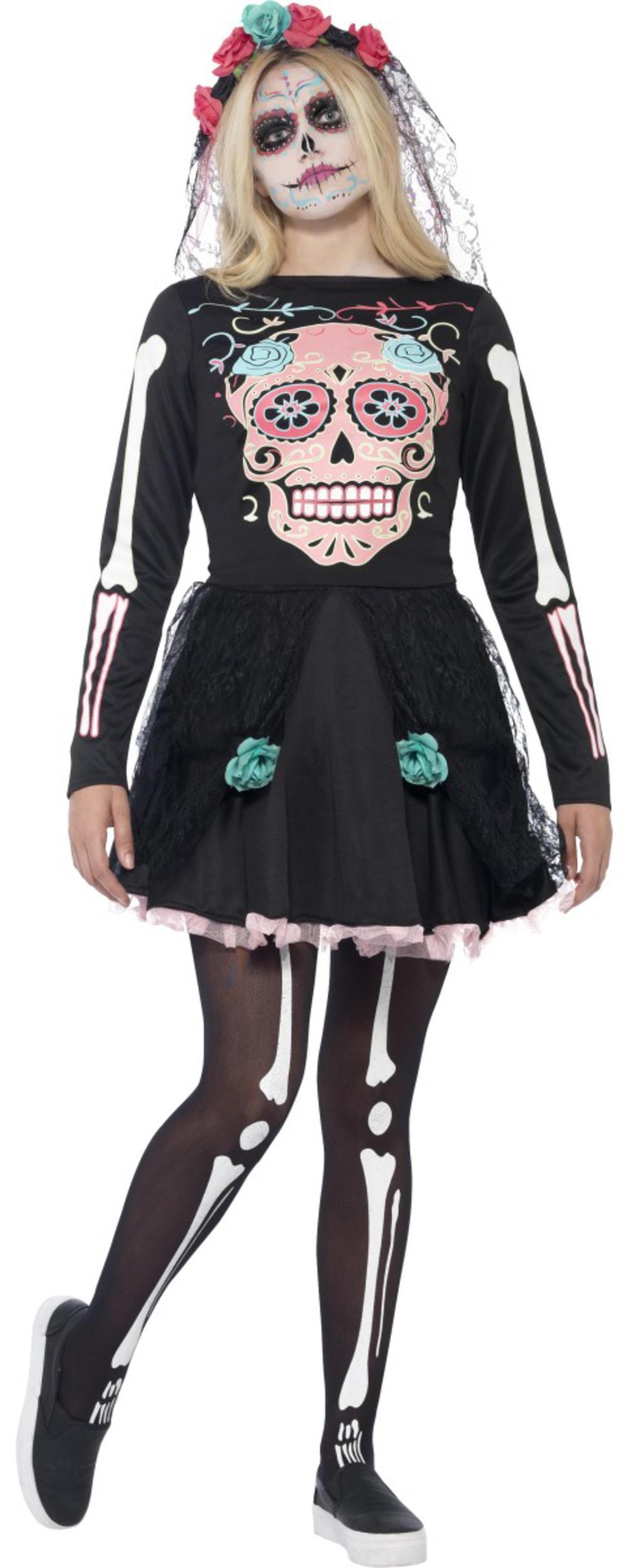 Sugar Skull Ladies Fancy Dress Halloween Day of the Dead Skeleton Teens Costume