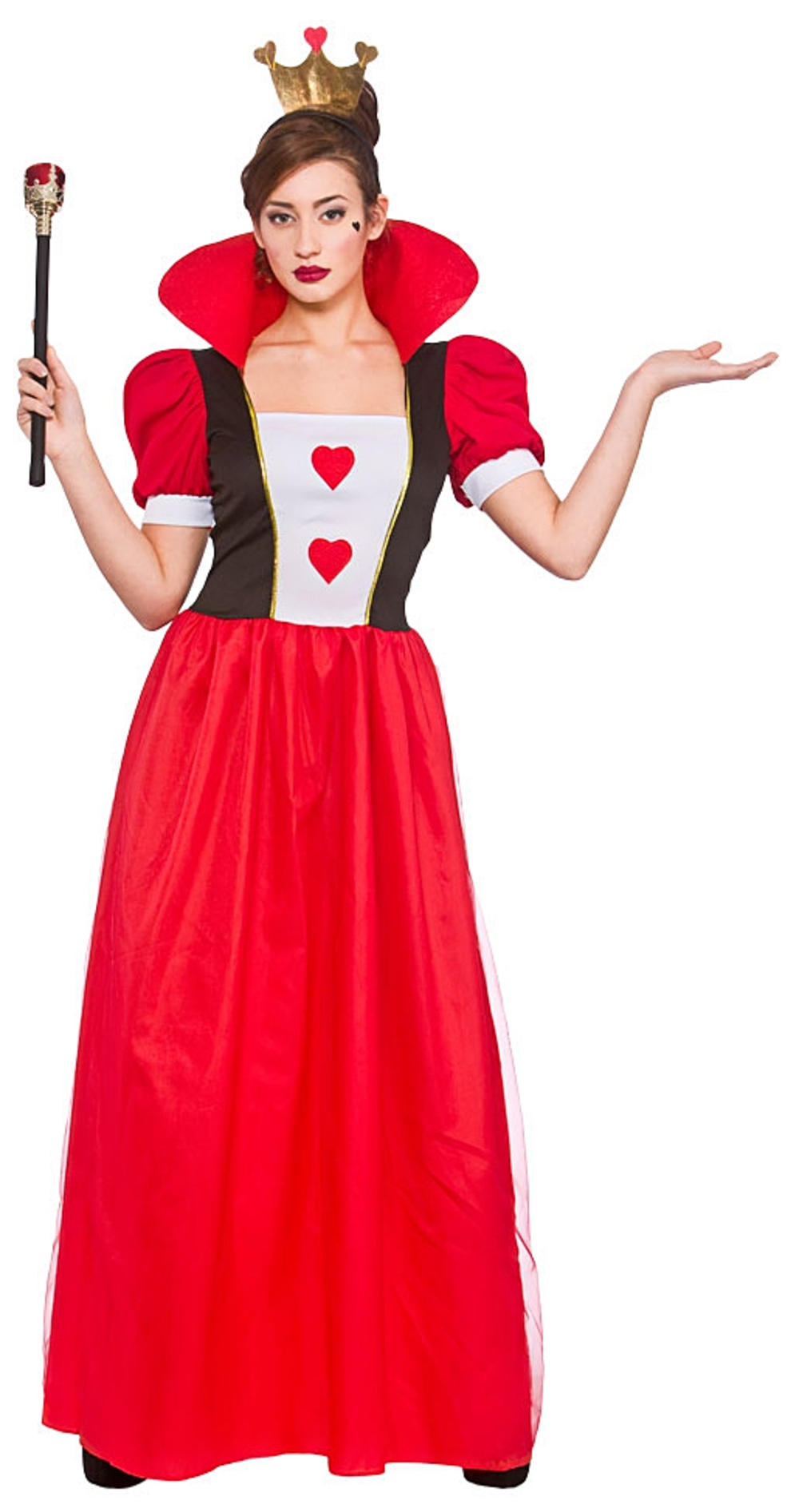 Queen of Hearts Ladies Fancy Dress Fairy Tale Book Day Adults Costume Outfit