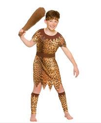 Girls Cavegirl Prehistoric Leopard Print Stone Age Fancy Dress Costume
