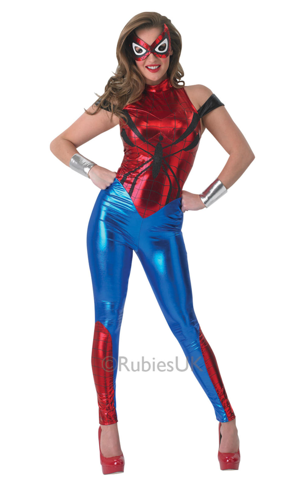 Spidergirl + Mask Ladies Fancy Dress Comic Book Superhero Womens Costume Outfit
