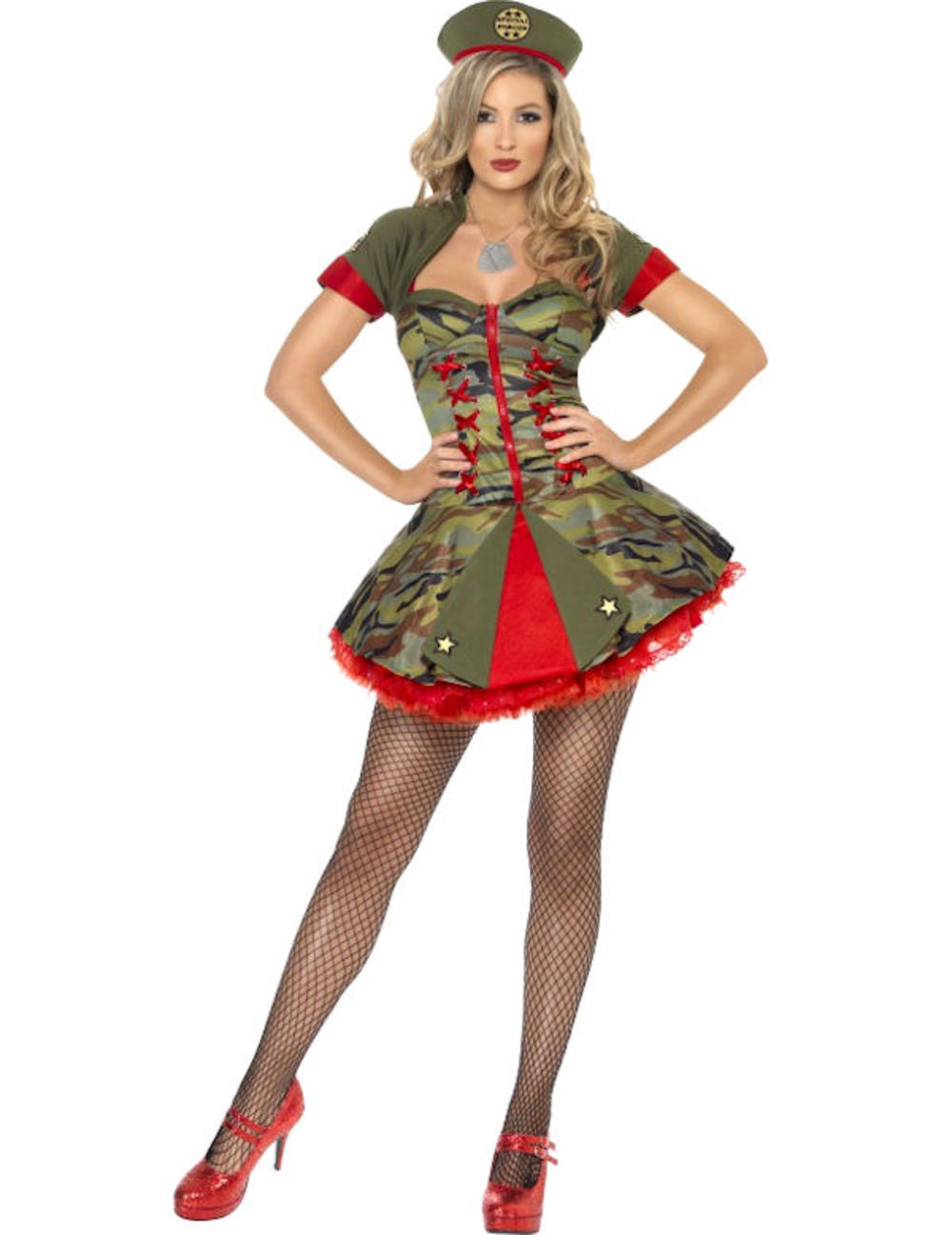Sexy Army Military Special Forces Ladies Fancy Dress Costume Outfit + Hat 8-14