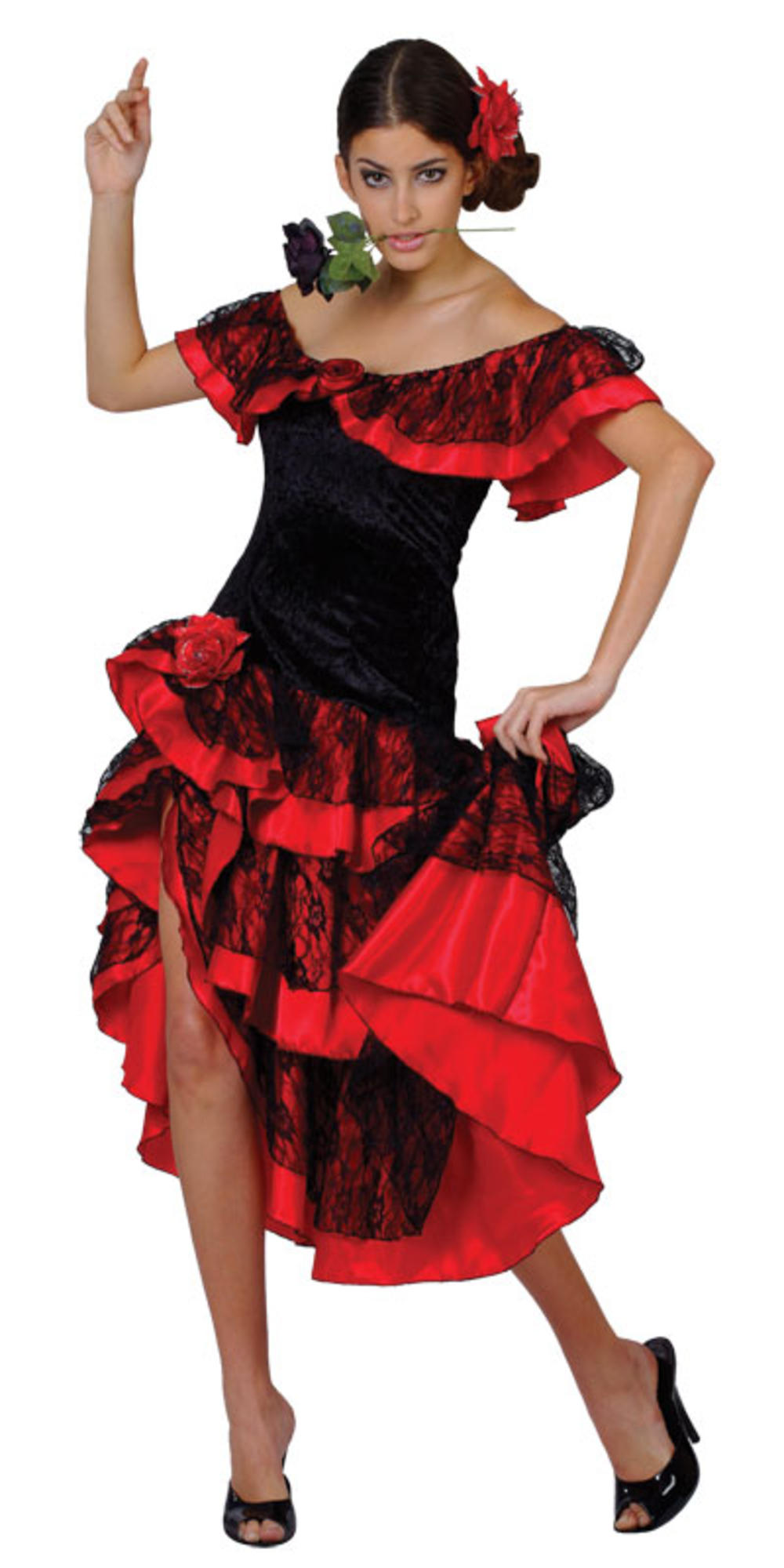 Spanish Senorita Ladies Fancy National Dress Party Salsa Flamenco Dancer Costume