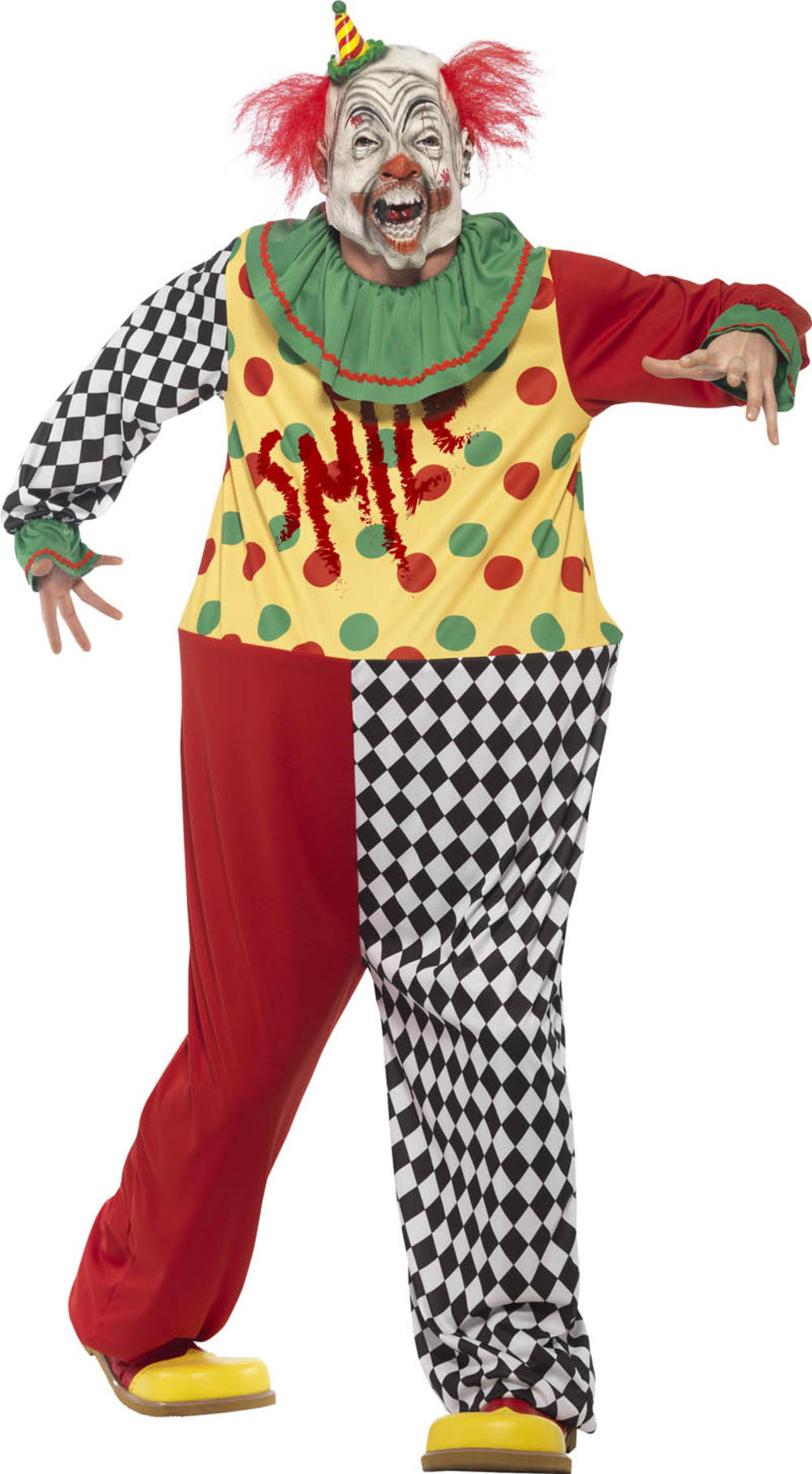 Sinister Clown Mens Fancy Dress Carnival Circus Horror Adults Halloween Costume
