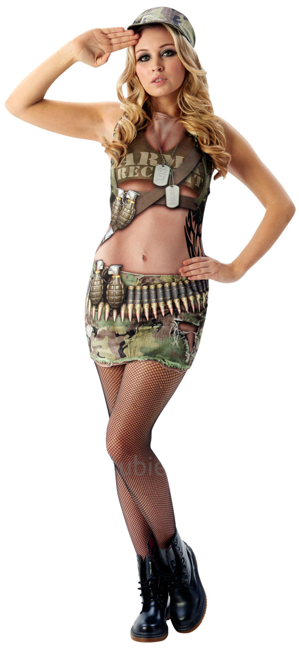 Sexy Soldier Ladies Fancy Dress Military Army Uniform Hen Womens Adults Costume
