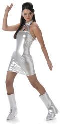 Secret Agent Ladies Fancy Dress Austin Powers 1960s Womens Adults Space Costume