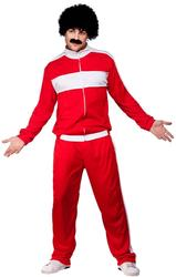 80s Red Scouser Tracksuit Mens Fancy Dress 1980s Retro Shell Suit Adults Costume