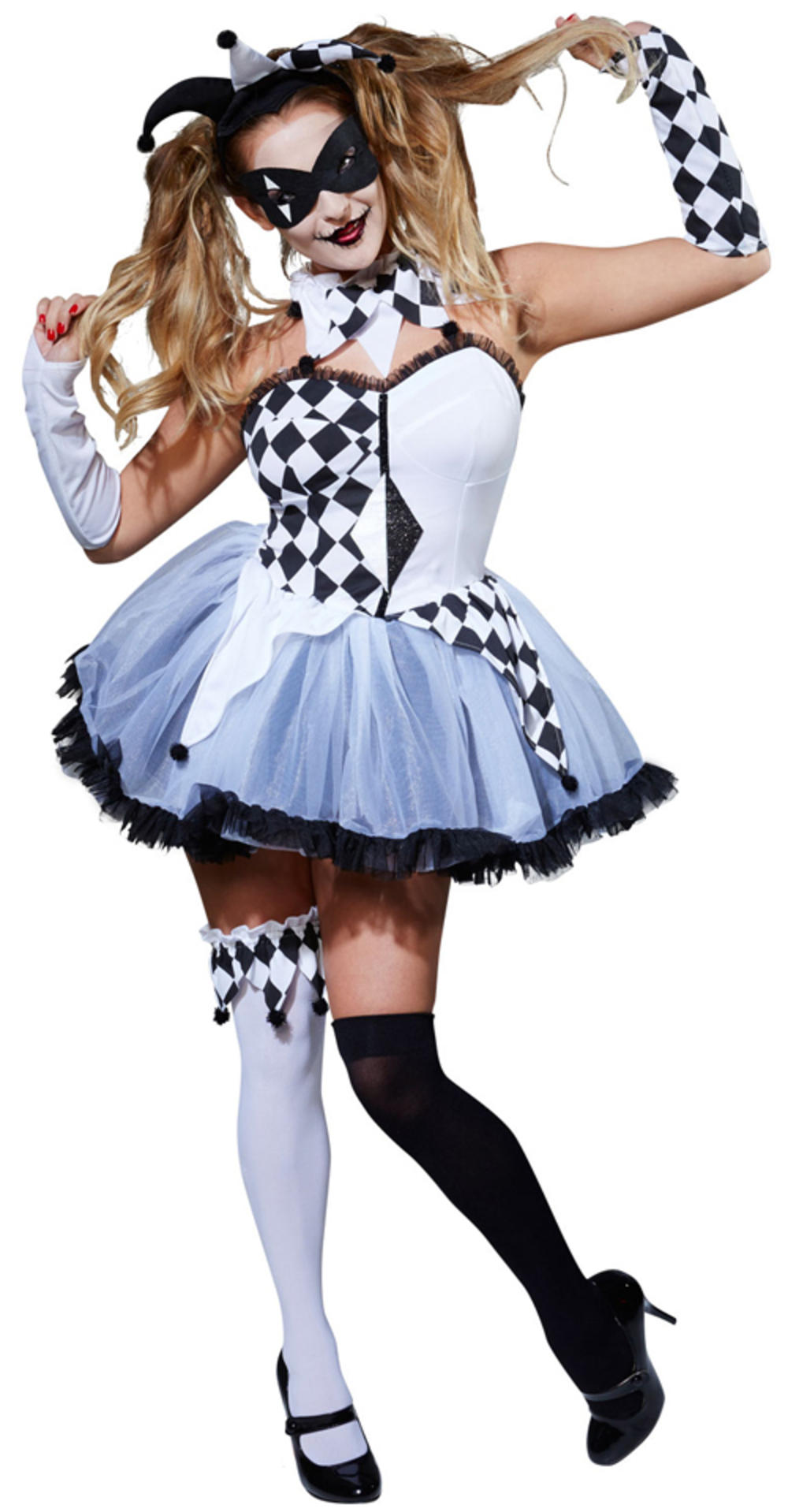 Harlequin Jester Ladies Halloween Fancy Dress Womens Adult Circus Costume Outfit