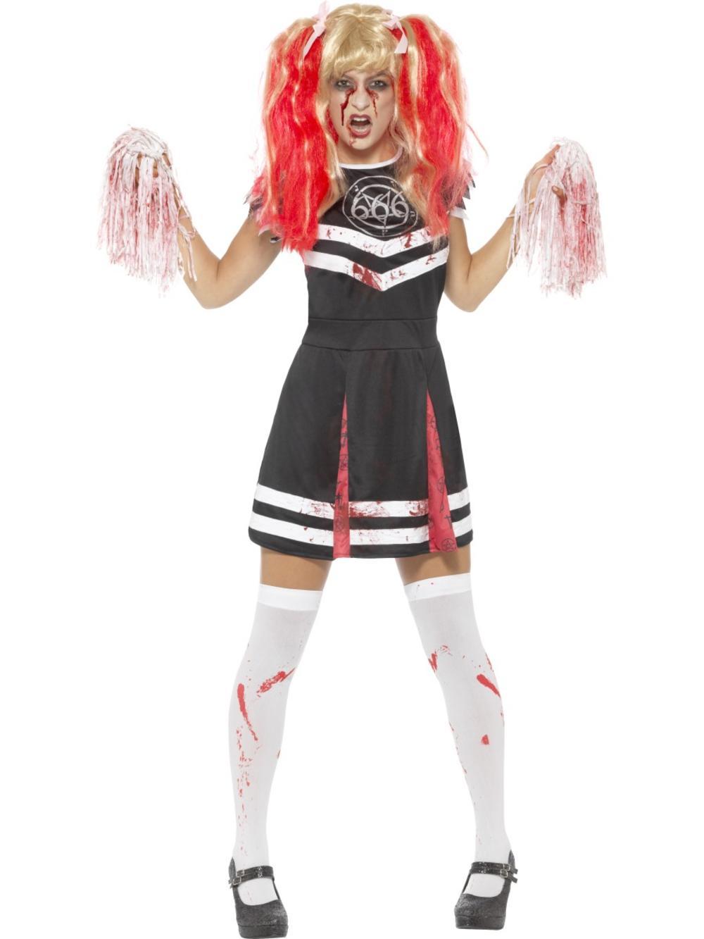Satanic Cheerleader Ladies Fancy Dress Undead Zombie Halloween Adults Costume