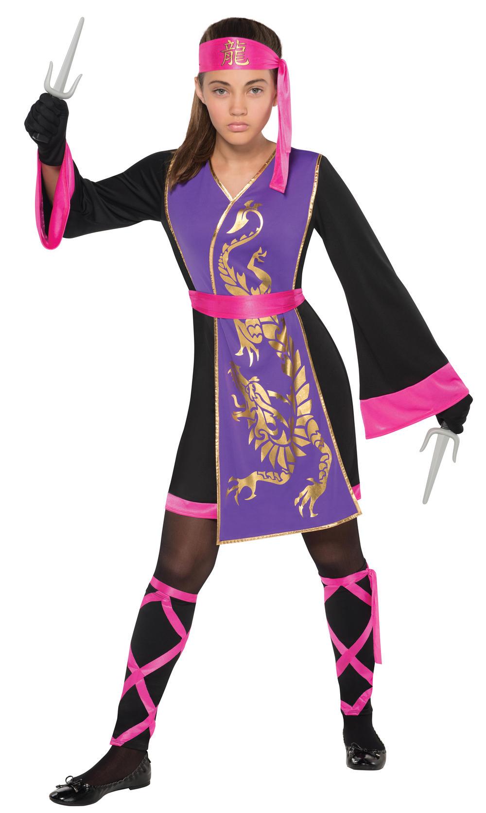 Samurai Girls Fancy Dress National Japanese Ninja Assassin Kids Childs Costume