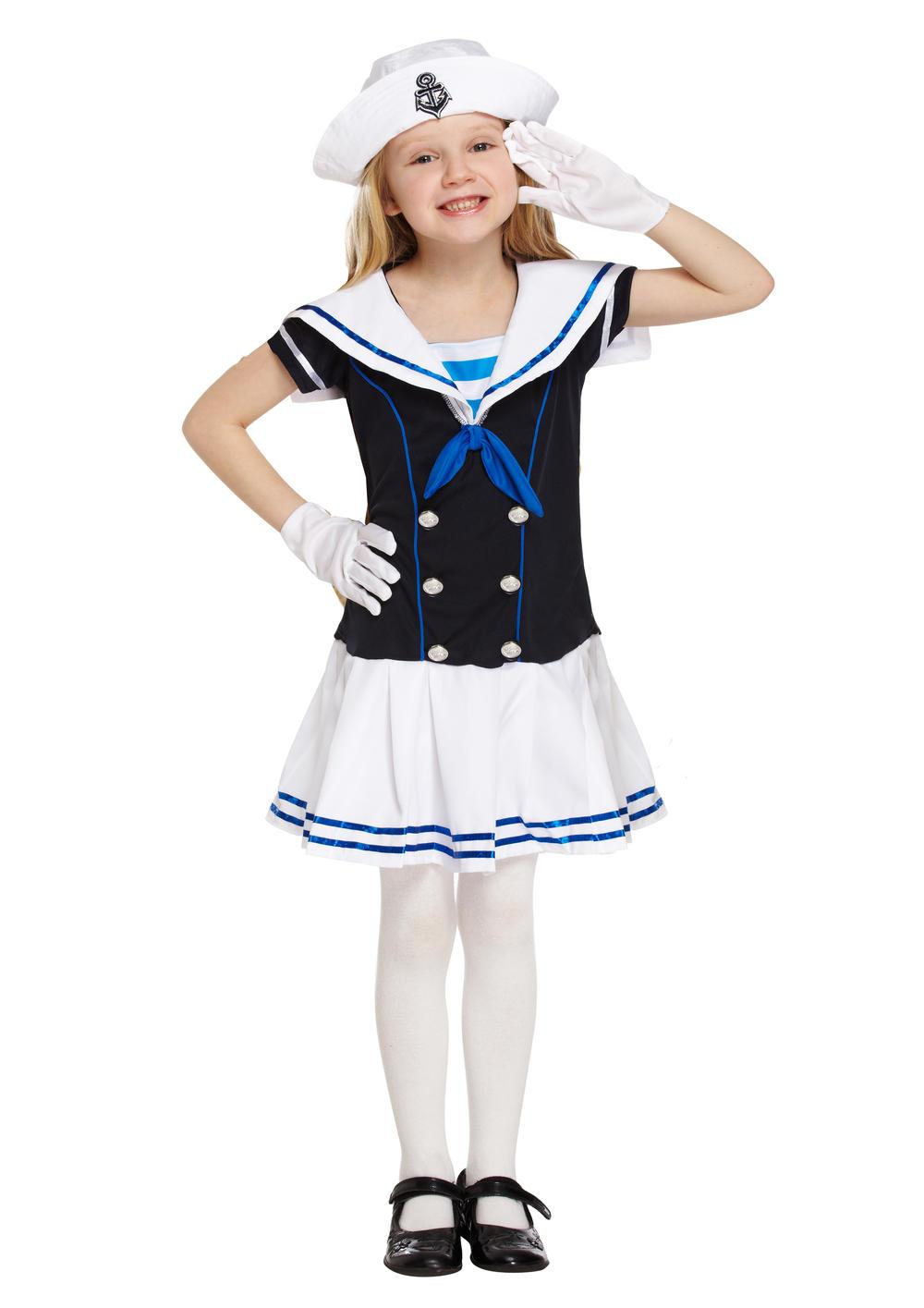 Sailor Girls Fancy Dress Marine Navy Uniform Kids Childrens Childs Costume + Hat