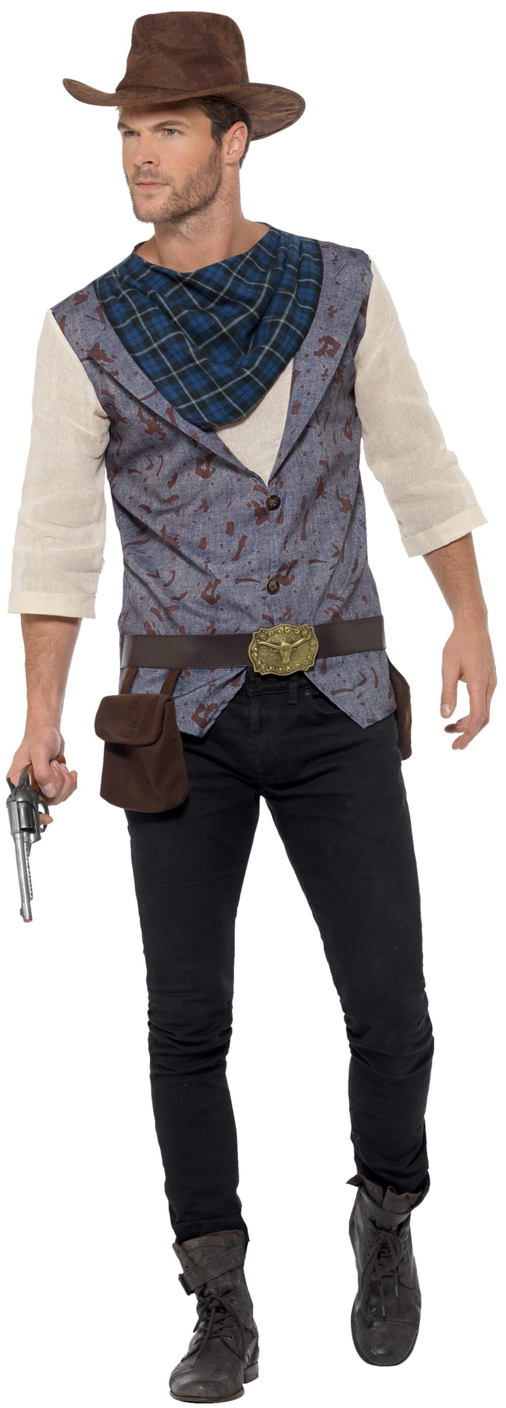 Rugged Cowboy Mens Fancy Dress Wild Western Texas Rodeo Adults Costume Outfit
