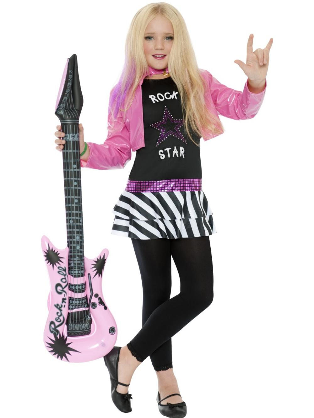 Rockstar Glam Girls Fancy Dress Celebrity Music Band Childrens Kids Costume New