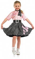 50s Rock N Roll Girls Fancy Dress 1950s Jazz Bopper Kids Childs Costume Outfit