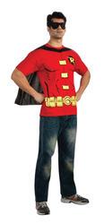 Robin Shirt & Cape Mens Fancy Dress Batman Superhero Comic Adults Costume Top