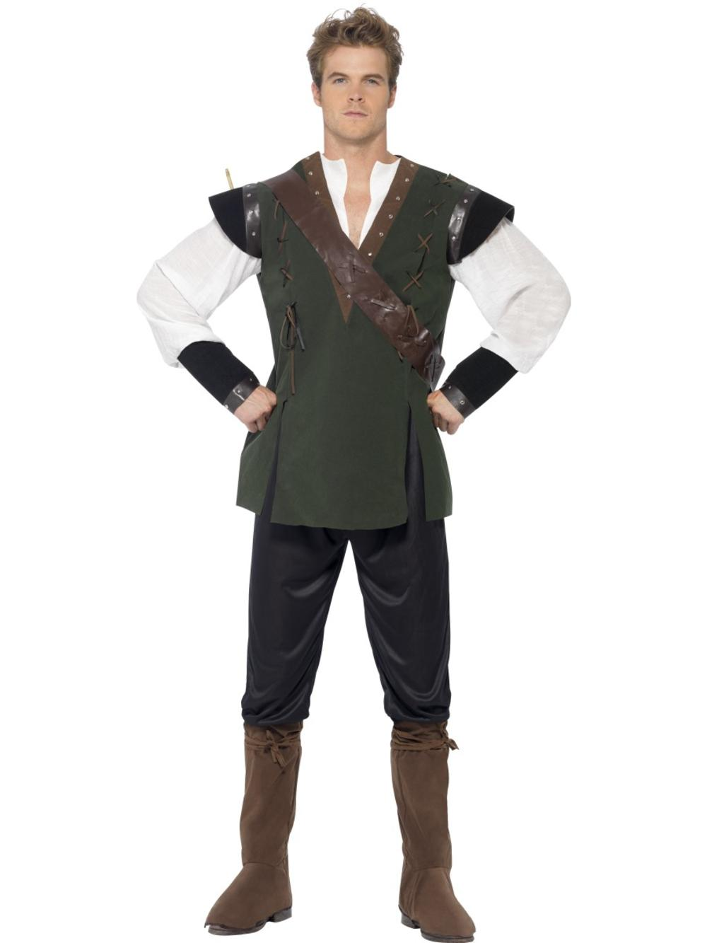 Robin Hood Mens Fancy Dress Fairy Tale Book Day Medieval Thief Adults Costume