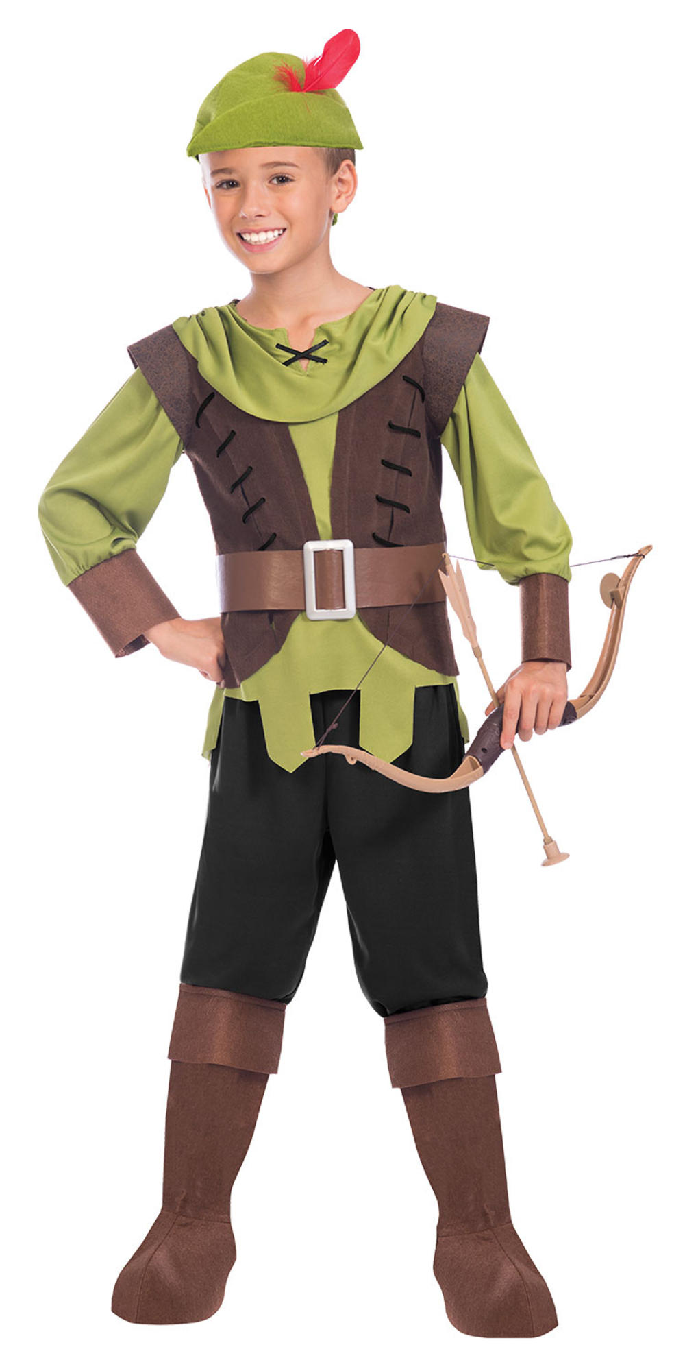 Robin Hood Boys Fancy Dress Medieval Hunter Kids World Book Day Costume Outfit