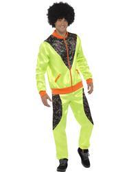 Retro 80s Shell Suit Mens Fancy Dress 1980s Scouser Tracksuit Adults Costume