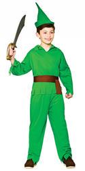 Robin Hood Lost Boy Fancy Dress Fairy Tale Elf World Book Day Week Kids Costume
