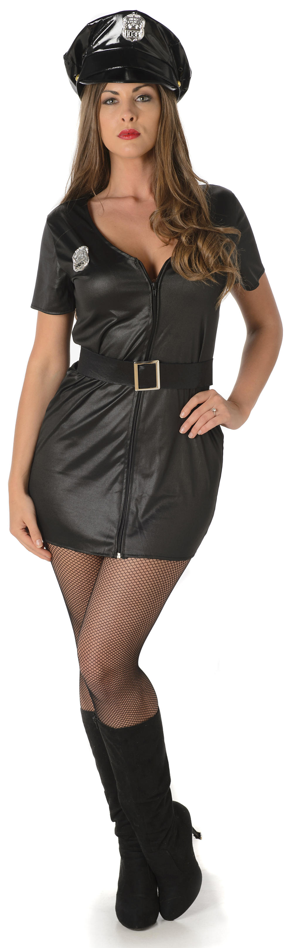 Risky Cop Ladies Fancy Dress Sexy Police Officer Uniform Adults Womens Costume