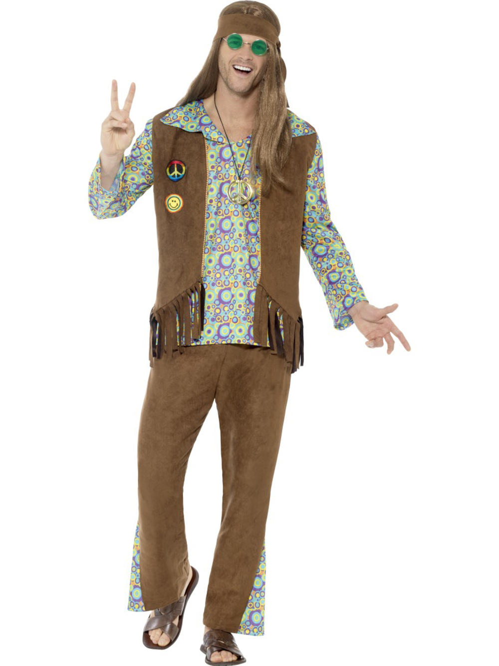 60's Hippie Mens Fancy Dress 1960s 1970s Groovy Funky Peace Hippy Adults Costume