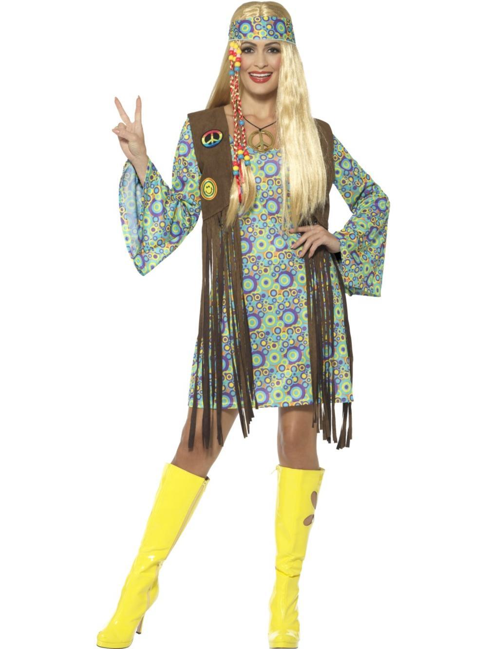 60's Hippie Ladies Fancy Dress 60s 70s Groovy Peace Hippy Adults Womens Costume