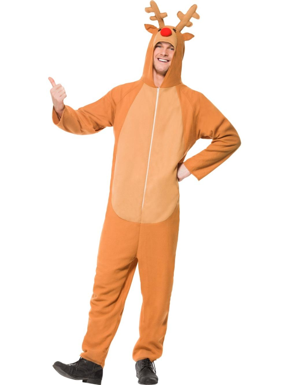 Rudolph Reindeer Mens Christmas Fancy Dress Festive Adults Costume Outfit