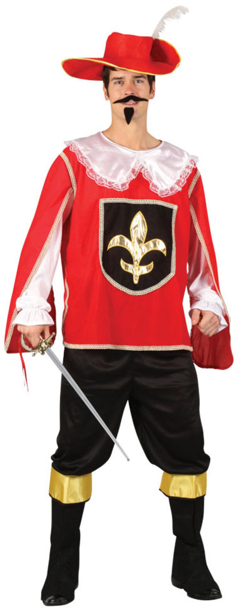 Red Musketeer + Hat Mens Fancy Dress Medieval French Adults Costume Outfit New