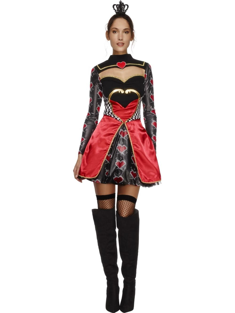 Fever Queen Of Hearts Ladies Fancy Dress Fairytale Book Day Womens Adult Costume