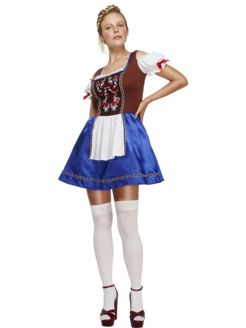 Dirndl Ladies Fancy Dress German Oktoberfest Bavarian Beer Maid Adults Costume